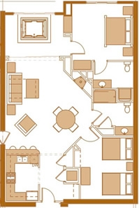 2 bedroom condo floor plan at Chula Vista Resort in the Wisconsin Dells