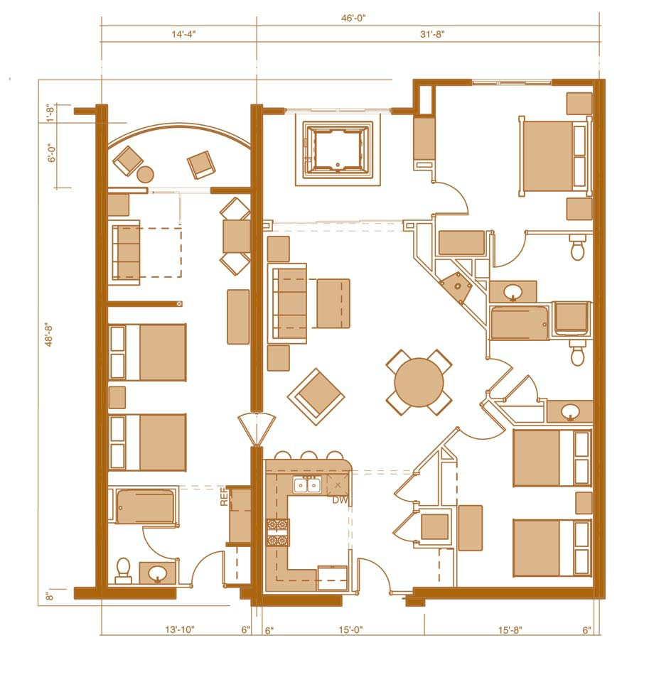 Wisconsin dells three bedroom condo for Condo blueprints