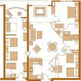 3 bedroom condo floor plan at Chula Vista Resort in the Wisconsin Dells